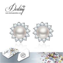 Destino joias cristais de Swarovski Brincos pérola brincos de flores