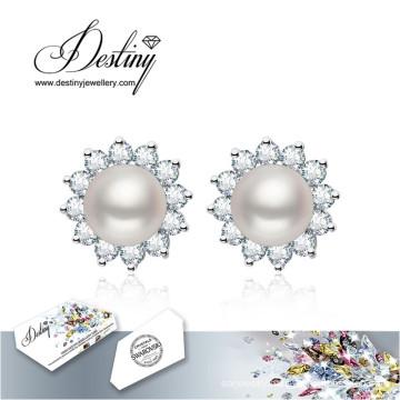 Destiny Jewellery Crystals From Swarovski Earrings Pearl Flowers Earrings