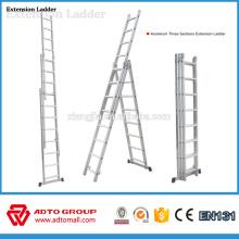 EN131 Escalera de aluminio de 3 secciones, escaleras de extensión, escaleras de extensión de aluminio