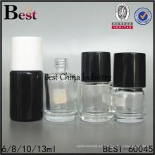 botella cilíndrica negra del esmalte de uñas 10ml con la tapa del cepillo