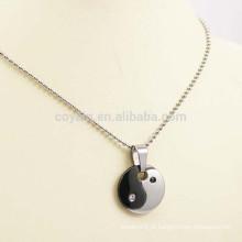 Preto Prata Dois Tom Redonda De Aço Inoxidável Yin Yang Colar Com Diamante