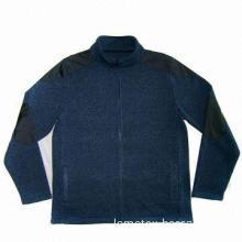 Men's jacket with melange knitting fabric brushed inside, made of 100% polyester