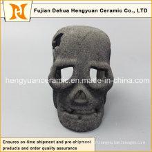 Fabrication d'usine Vente en gros Décor Art Cadeau Céramique Noir Décoration Halloween Crâne