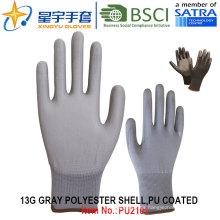 13G poliéster Shell PU guantes recubiertos (PU2101) con CE, En388, En420, guantes de trabajo