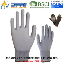 13G Polyester Shell PU Coated Gloves (PU2101) with CE, En388, En420, Work Gloves