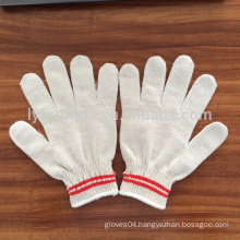 10 gauge natural white cotton knitted working gloves with lines on the cuff