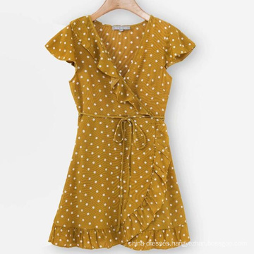 High Quality Dot Print Short Sleeve Lace Dress