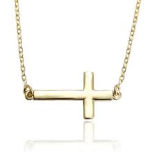 43655 Xuping cobre moda jóias estilo simples 14 k golg colar cruz