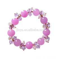 Fashion Bling Handmade Crystal Purple Stone Beaded Bracelet For Woman