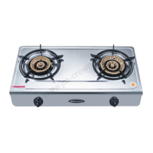 2 Burner Brass Burner Stainless Steel 710mm Gas Cooker