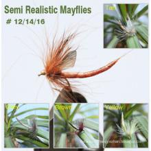 Fly Fishing Mayflies avec des ailes réalistes et des corps de tube