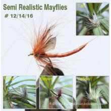 Fly Fishing Mayflies with Realistic Wings and Tube Bodies