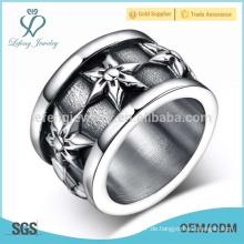 Silber gothic Blume gravierten Ring, Edelstahl Punk Rock Schmuck