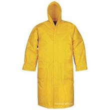 100% Polyester Yellow Color One-Piece Long Raincoat for Adult