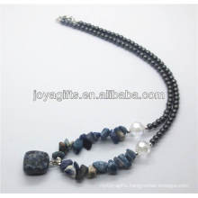 Sodalite chip Necklace with sodalite tumbled stone pendant