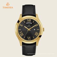 Mens Metropolitan pulseira de couro preto relógio de quartzo 72273