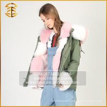 Vente en gros Veste en fourrure à rayures colorées Womens Hooded Parka