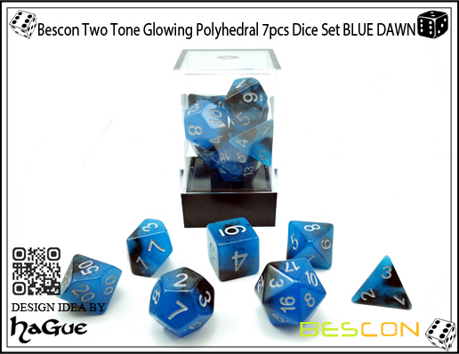 Bescon Two Tone Glowing Polyhedral 7pcs Dice Set BLUE DAWN-5