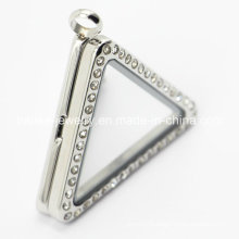 316L Stainless Steel Triangle Glass Stainless Steel Locket Pendant