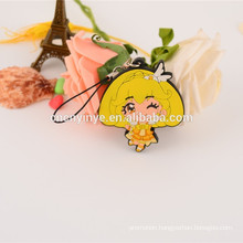 Popular customized soft PVC anime mobile phone strap for promotion