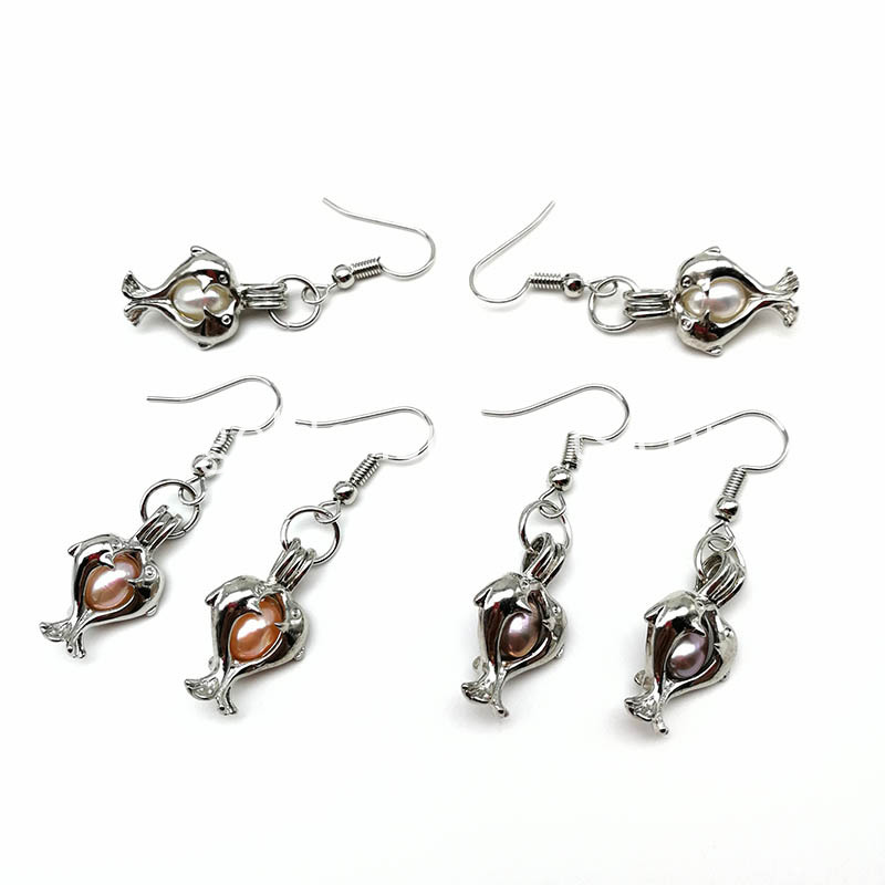 Silver Dolphin Cage Pendant Earring
