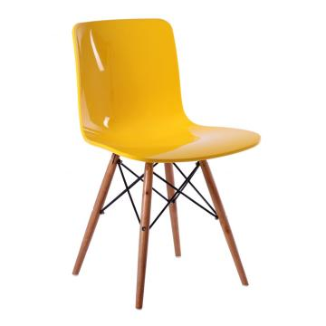 Popular living room plastic dining chair wood base