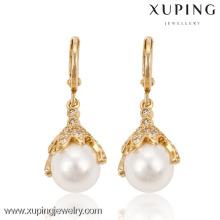 91187 Xuping Fashion wholesale high quality artificial pearl drop earring in gold drop earring