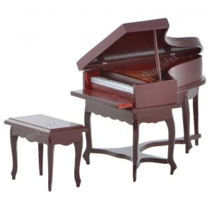 Victorian dolls house furniture sets Piano with chair