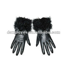 Lady Leder Handschuhe mit Pelz Handgelenk