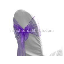púrpura, vogue cristal organza silla marco lazo detrás, corbata de lazo, nudo, cubierta wedding de la silla y mantel