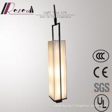 Lampe de suspension abat-jour en tissu blanc opale de salle de conférence Vintage