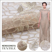 Made in China Alta qualidade Poly tulle lace tecido bordado decorativo