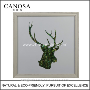 CANOSA green shell deer head Wall Picture with wood frame