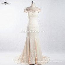 RSW908 Bilder von neuesten Kleider Designs aus der Schulter Champagner farbige Meerjungfrau Mode Hochzeit Abendkleider für Frauen