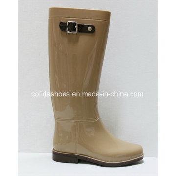 Classic Flat Comfort Women Rain Boot with Fashion Strap