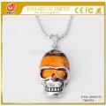Niedriger Preis Männer Tigerauge Schädel-hängende Halskette 20SN0170 mit 60CM silberne Kette halb kostbare Stein-Kristallschmucksachen