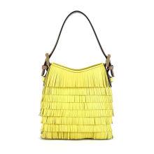 Preppy Fringe Cross Shoulder Handbags For Women , Yellow Leather Bag