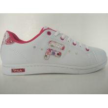 Women Fashion White Flower Printed Skate Shoes