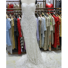 Strapless White Wedding Bridal Machine Beaded Evening Dress