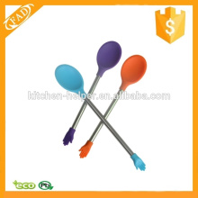 Cuchara profesional de silicona fácil de limpiar con mango de acero inoxidable