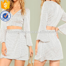 Trumpet Sleeve Polka Dot Top & Wrap Skirt Set Manufacture Wholesale Fashion Women Apparel (TA4055SS)
