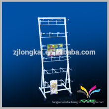 Floor Standing OEM Design White Metal Cell Phone Accessory Display Rack with hanging hook