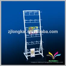Floor Standing OEM Design Branco Metal acessório de telefone celular Display Rack com gancho suspenso