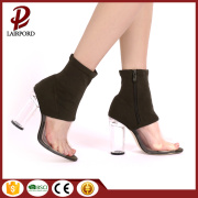 Elastic fabric PVC stitching high heel sandals
