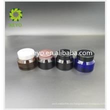 Tarro de cristal coloreado crema de la crema de fundación de la crema del tarro de cristal 30g con la tapa plástica