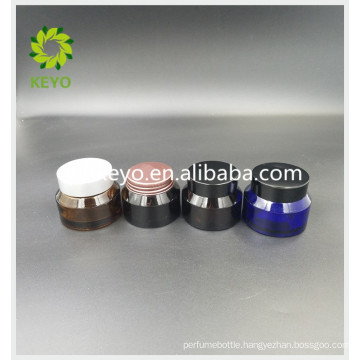 30g colored glass jar facial cream foundation cream glass jar with plastic lid