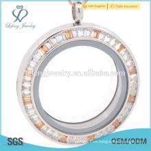 Acero inoxidable al por mayor medallón de cristal, ventana de vidrio joyería locket, plata esterlina medallón de cristal