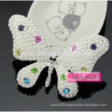 beautiful colored butterfly animal crystal and pearl brooch