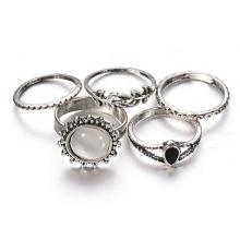 Estilo Folk retro de lujo Suite personalidad exagerada anillo del ópalo
