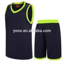 último jersey de baloncesto de alta calidad nuevo jersey de baloncesto liso conjunto encendido